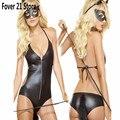 NOVA Venda QUENTE Fover 21 Super Sexy Adulto Preto Couro DO PVC Como Apertado Macacão Bodysuits Frete Grátis Por Atacado