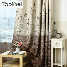 Topfinel Cartoon Castle Window Curtains for Kids Children Room Girls Boys Baby Bedroom Gradient Design Blackout Curtains Drapes(China)
