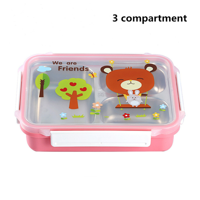 Pink 3compartments Cheap bento boxes 5c6479e2ee0b4