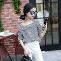 slash neck print blouses for girls 8 10 12 14 years white black striped children blouse 2017 spring autumn long sleeve tops
