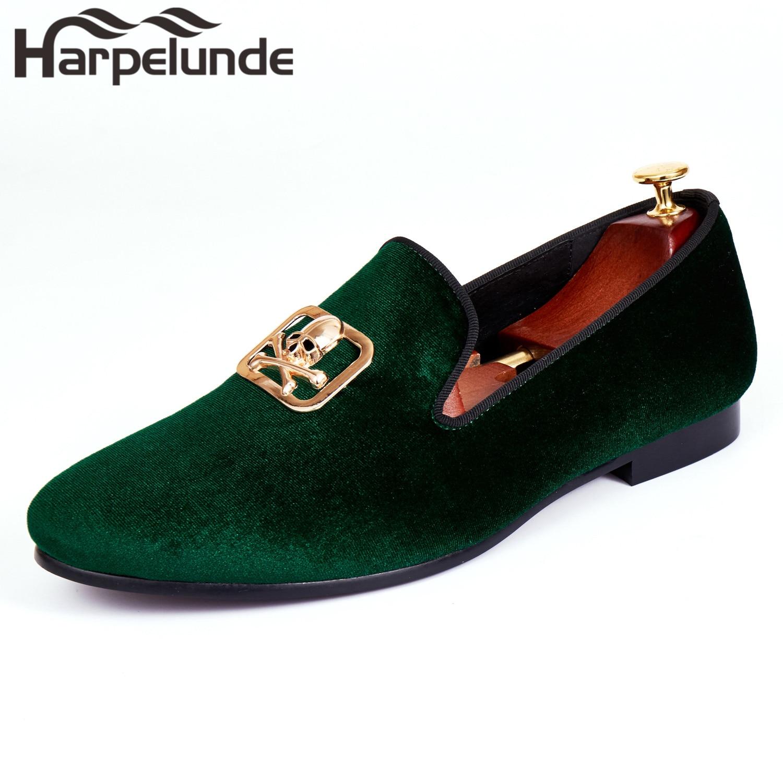 Harpelunde Slip On Dress Wedding Shoes For Men Skull Buckle Black Velvet Loafers Size 6 14 in Formal Shoes from Shoes