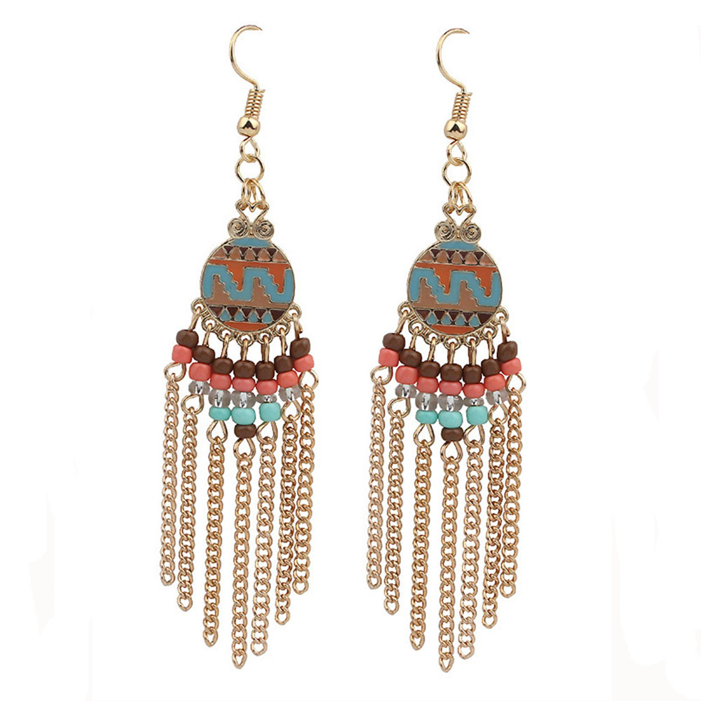 Gold Color Bohemia Roman Style Metal Tel Colorful Resin Beads Retro Pattern Drop Earrings For Women Skirt Accessories In From Jewelry