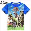 3-9ages Mundo Jurásico dinosaurio niños camiseta de los muchachos del verano del bebé infantil chicos tops tee camisetas para niños ropa de los muchachos prendas de vestir