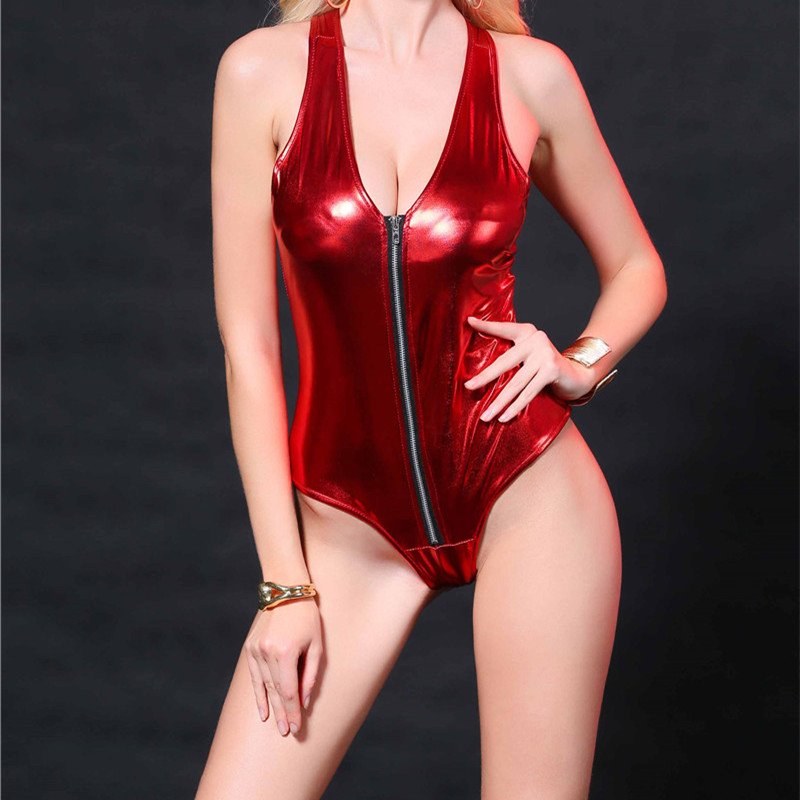 Womens Sexy Lingerie Bodysuit Front Zipper Wet Look Body Suit Pvc Leather Leotard Sexy Swimsuit Ds Night Stage Costume Moderate Price Luggage & Bags