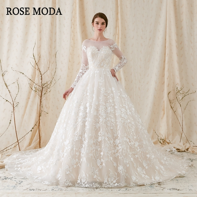 Rose Moda Gorgeous Long Sleeves Princess Wedding Ball Gown 2018 Low V Back Lace Dresses