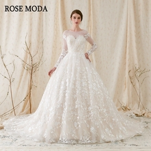 Rose Moda Gorgeous Long Sleeves Princess Wedding Ball Gown Low V Back Lace Wedding Dresses with Royal Train