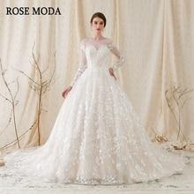 Rose Moda robe de mariée à manches longues avec dentelle, magnifique robe de bal, dos en V, avec Train Royal