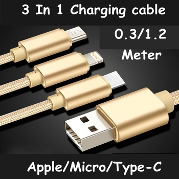10PCS/LOT ReadStar 3 in 1 Charging cable Lighting & Micro & Type-C plugs 0.3 meter 1.2 meter Multi-functi Phone Charging cables