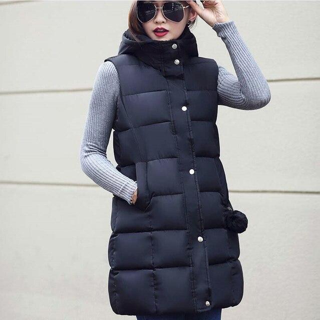 2016 осень и зима женщин пальто средней длины вниз хлопка жилет хлопка жилет женщин повседневная зимой толстые жилет