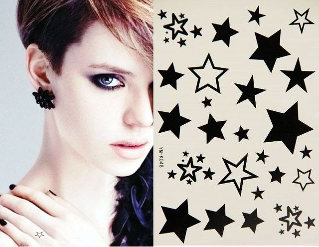 Temporary tattoo Temporary body art Black and white stars stencil designs tattoo stickers FREE SHIPPING Waterproof tattoo