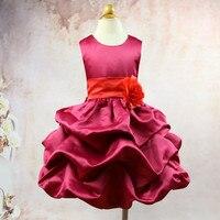 Nieuwe Baby Meisjes Mouwloos Roze/Rood Multi Kleur Riem Bloem Prinses Feestjurk Kinderen Gelaagde Taart Jurk Meisje Baljurk