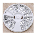 2mm Silver Transparent Wheel Round Glitter Nail Art Rhinestones Decorations For Nails Tools Silver Nail Rhinestone Decoration