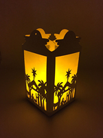 BOSHENG DIY Paper Light Christmas Light Christmas Silhouette Luminary Lantern Shadow Box Indoor Decor