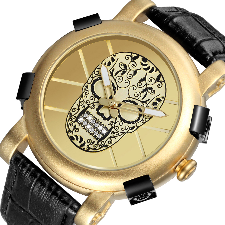 SKONE 2018 Pirate Skull Big Dial Gold Watches Men Luxury Brand Quartz Wristwatch Male Military Army Watches Sports Style Clock bmbe табурет pirate