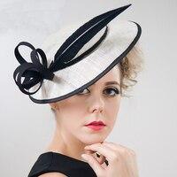 ShanFu Burgundy Women's Hats and Fascinators Vintage Sinamay Linen Feather Fascinator with Headwear chapeau femme mariage