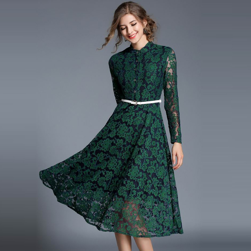 Reliable Girl Green Wine Red Sexy Stand Collar Women Hollow Out Swings Dresses Summer Elegant Long Sleeve Beach Long Vestidos Boho Dress To Ensure Smooth Transmission Women's Clothing