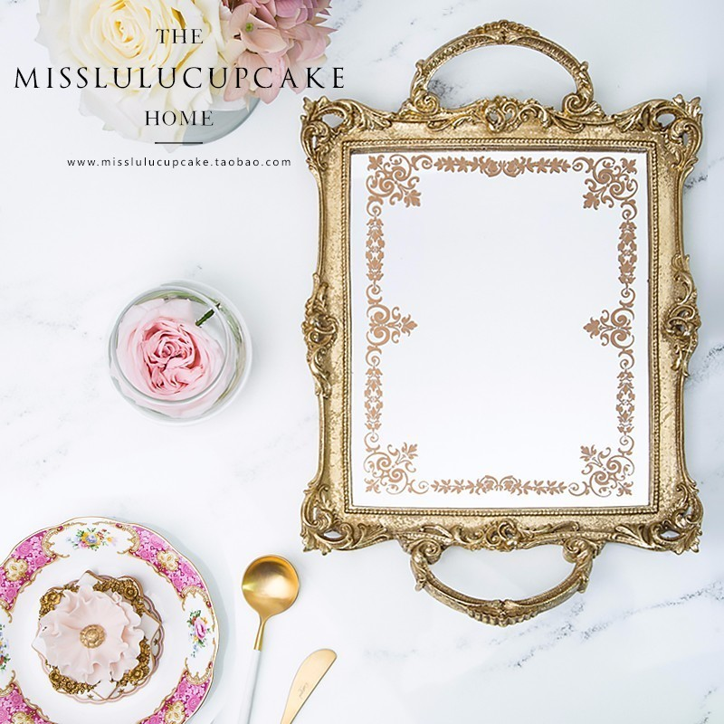 Vintage cake tray resin cake display accessory mirror ancient style gold white wedding ornaments dessert dishes cupcake plate(China)