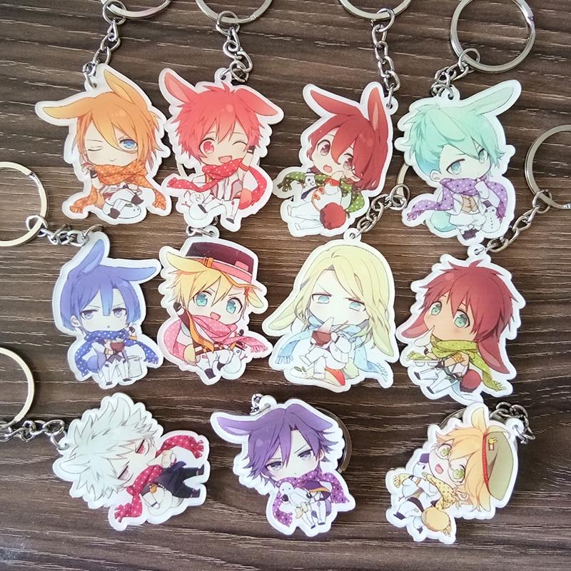 11PCS/SET Anime Keychain Uta No Prince-sama Nanami Haruka Ittoki Otoya Masato Natsuki Full Set Members Keychain Keyrings Pendant