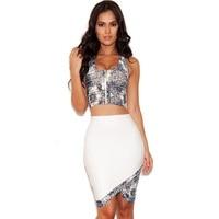 2016 Top Qualidade new arrival cinza bege branco 2 duas peças bandage dress senhoras bodysuit vestido de festa à noite