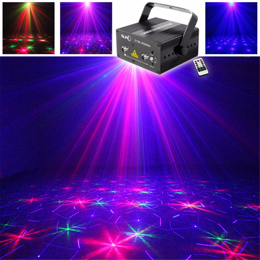 AUCD Mini Remote RGB Full Color Laser Crossover Effect Projector 3W Blue LED Light DJ Party Home Stage Lighting Z12B-RGB300 mini rgb led party disco club dj light crystal magic ball effect stage lighting