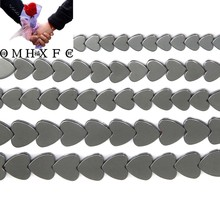 "OMH Wholesale 6x6 8x8 10x10 MM free shipping natural stone non-magnetic heart shape black hematite beads 15"" per ZZ114(China)"