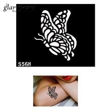 1 Piece Small Indian Henna Tattoo Stencil DIY Health Body Art Flying Butterfly Pattern Design Henna Tattoo Stencil S568