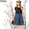 Artka de las mujeres de verano nuevo remiendo de la vendimia del o-cuello de manga corta cómodo una línea delgada dress ln10567c