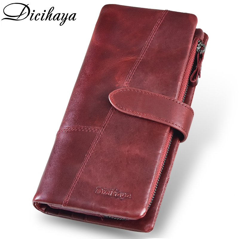 DICIHAYA Free Engraving Name Genuinn Leather Women Wallet Hasp Clutch Wallets Coin Pocket Cards Holders Long Purse Phone Bag