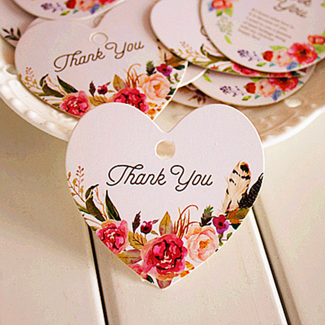 Thank You 95pcs Heart Shape Flower Feather Design Paper Labels