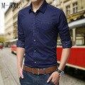 2016 long sleeve slim fit men blouse M-5XL Multi Color Men's Comfy Blouse Casual Business Dress Shirt Button-Front Tops