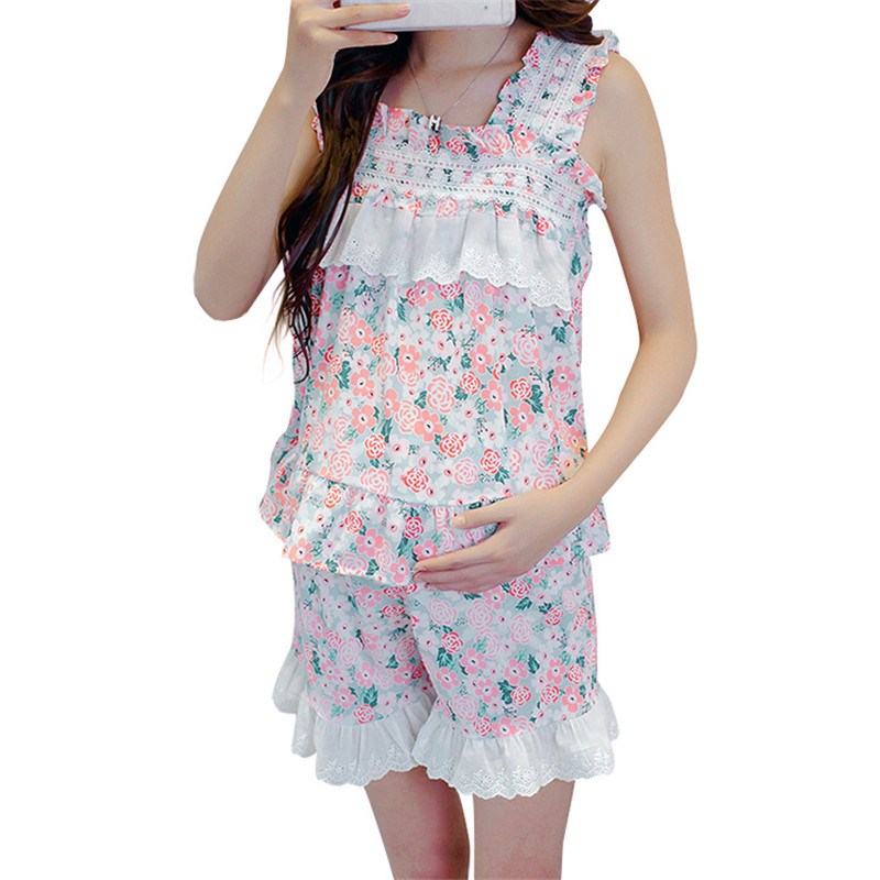 Brand Summer Korean Lace Flower Set Confinement Clothing 100% Cotton Postpartum outing New Maternity Dress,free shipping