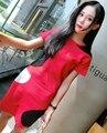 Moda 2016 mujeres del invierno del otoño de punto 2 unidades establece femenino camisetas faldas camisetas camisetas rojo azul dos piezas trajes B0309