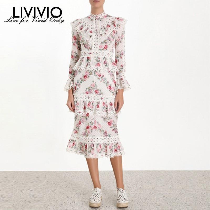 LIVIVIO Vintage Print Women Dress Stand Collar Flare Sleeve High Waist Hollow Out Ruffles Midi