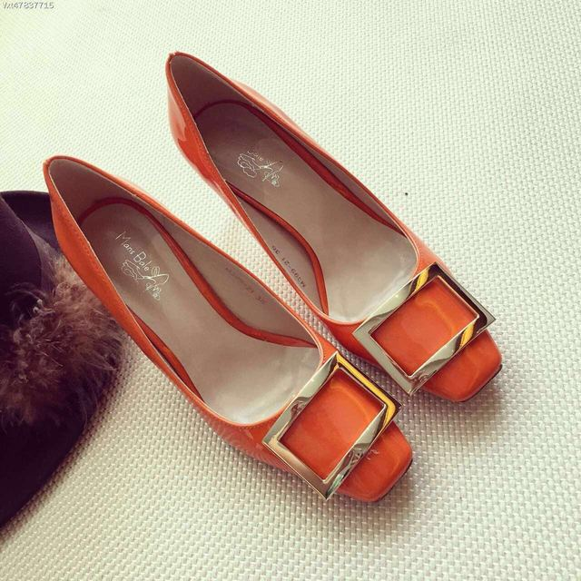2016 Nuevos Zapatos de Diseño de Lentejuelas Bombas de Charol Naranja Zapatos de Tacón Alto de Color Rojo 7 cm Chaussure Femme Talon