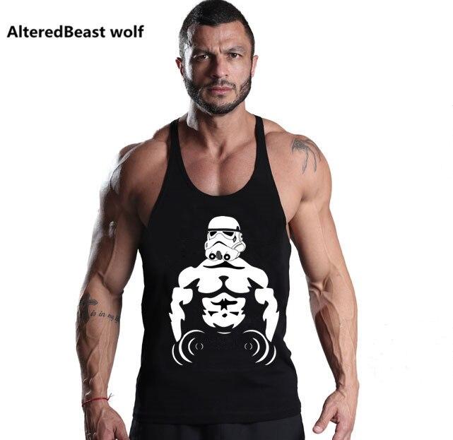 Brand Men Star wars print   Tank     Tops   men Fitness Cotton O-neck Sleeveless Shirt Men Bodybuilding   Tank     Top   Workout vest Undershirt
