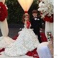 2016 Горячей Продажи Девушки Цветка Платья Для Пляжа Полный Ручной Цветы Принцесса Бальные Платья Милые Девушки Конкурс Платье