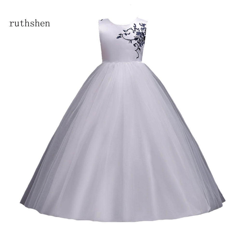 ruthshen Best Selling Floor Length   Flower     Girl     Dress   Ball Gown with Embroidery For Evening Prom and Wedding Special Party   Dress