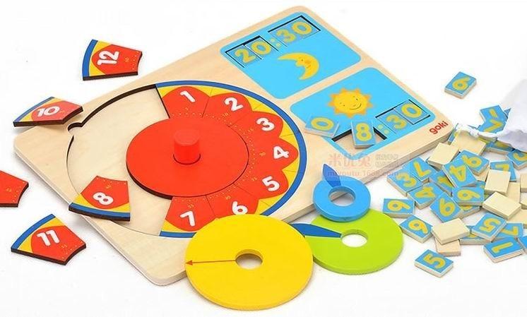 82 PC-uri Jigsaw bord copii Copii ceasuri de puzzle ceasuri de lemn / Copii Copii mare ceas cu dimensiunea de luni, jucării educative