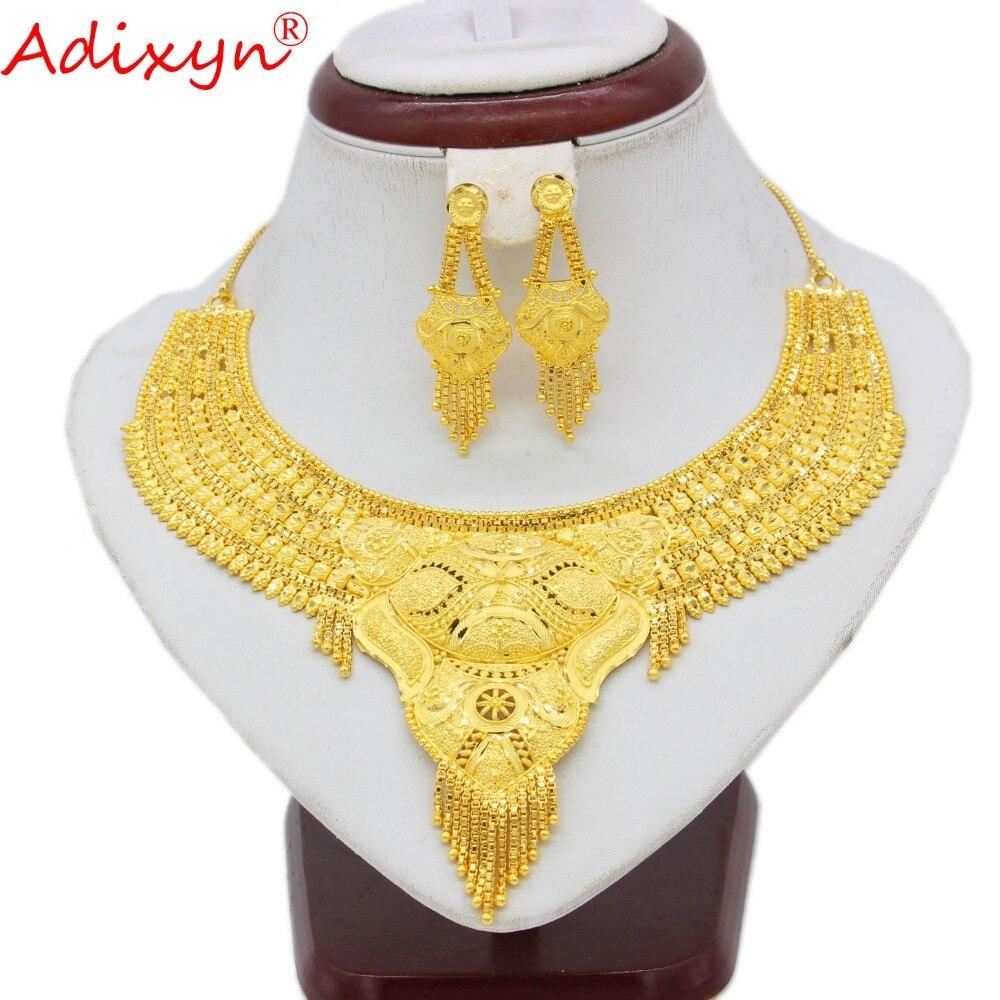 Adixyn bijoux à la mode éthiopien Dubai ensemble collier/boucles d'oreilles couleur or bijoux africains à la mode pour les femmes filles cadeaux N100710