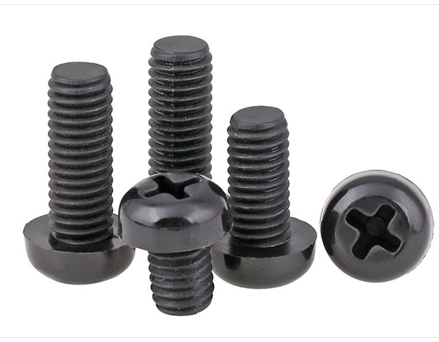 10 Pcs Black Color Nylon Phillips Round Head Screw Bolt M8 X 10mm-60mm