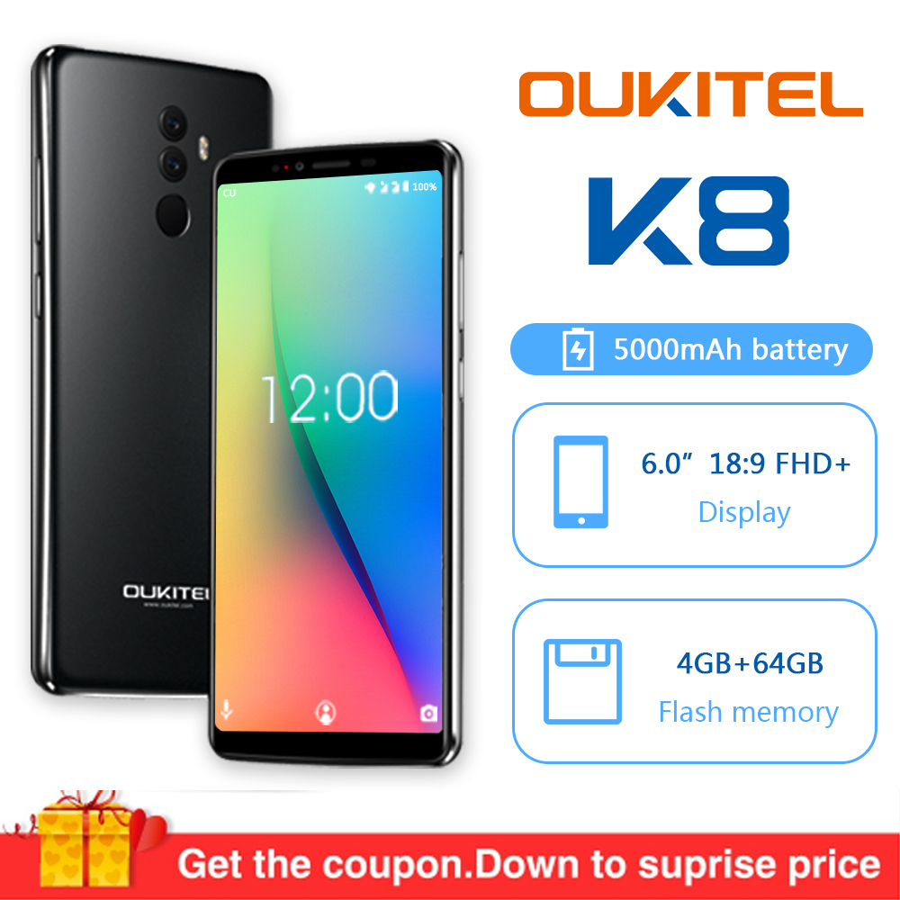 "Oukitel K8 Android 8.0 6.0"" 18:9 MTK6750t Octa Core 4G RAM 64G ROM Mobile Phone 5000mah 13.0mp Fingerprint Face ID Smartphone"
