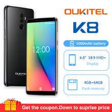 "Get more info on the Oukitel K8 Android 8.0 6.0"" 18:9 MTK6750t Octa Core 4G RAM 64G ROM Mobile Phone 5000mah 13.0mp Fingerprint Face ID Smartphone"