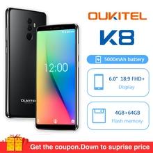 Oukitel K8 Android 8,0 6,0 «18:9 MTK6750t Octa Core, 4G, Оперативная память 64G Встроенная память мобильного телефона 5000 мАч 13.0mp отпечатков пальцев Face ID смартфон