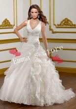 MORI-Free Shipping Custom Made 2013 Fashion A-Line V-Neck Floor Length Ruffled Applique Ball White Wedding Bridal DressesBride