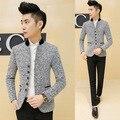 Casaco Blazer dos homens de luxo Da Marca Homens Moda Casacos Primavera Outono Masculino Gola Wollen Casuais Slim Fit Blazers Suit M-6XL