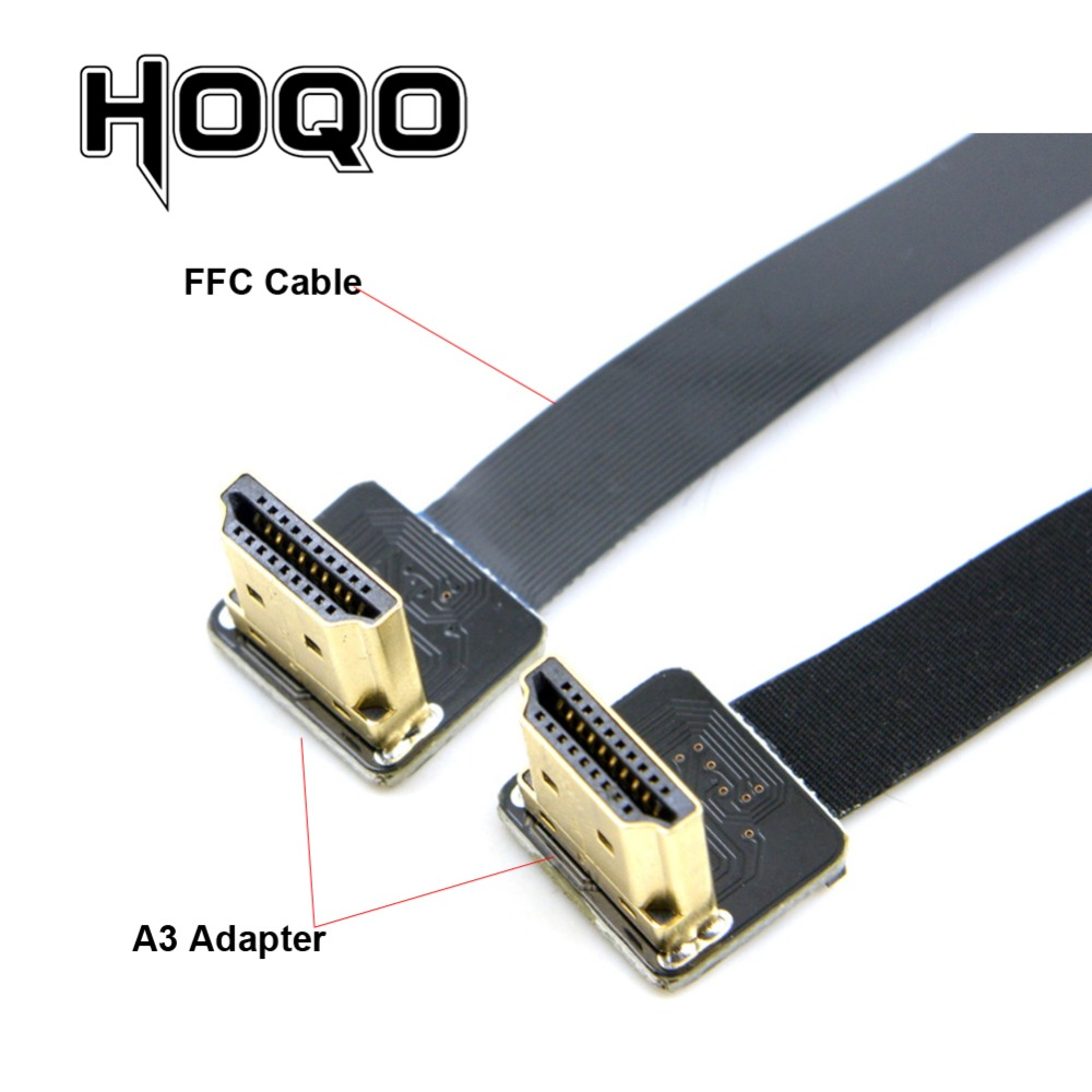 FPV HDMI Dual Up Angled 90 Degree HDMI Type A Male To Male HDTV FPC Flat Cable For Multicopter Aerial Photography 10CM 50CM