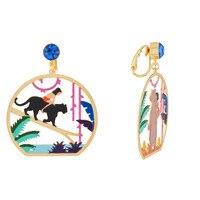 new product enamel glaze earrings Cleveland black forest cat earring