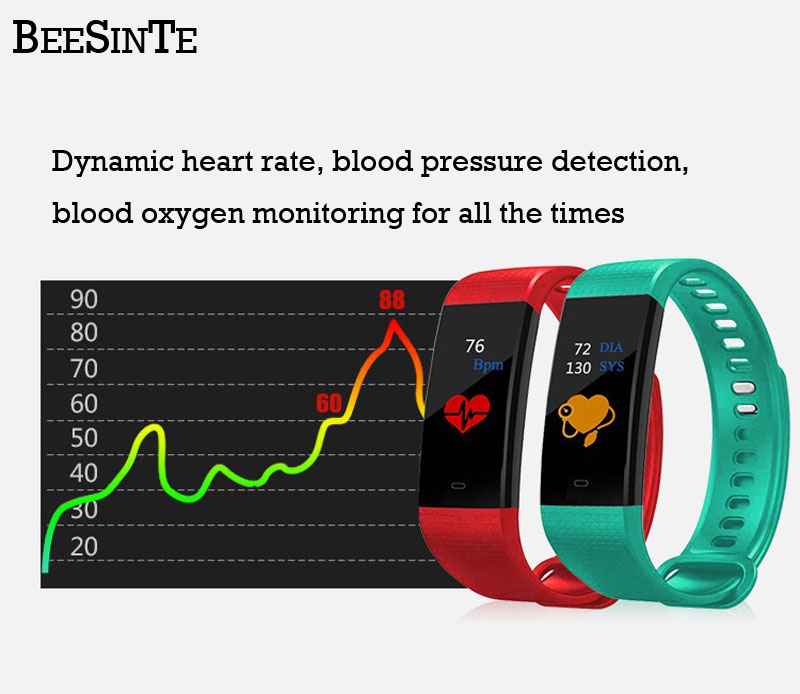 Bluetooth smart watch waterproof heart rate monitor blood pressure blood oxygen measurement fitness activity tracker Notificatio-in Smart Wristbands from Consumer Electronics