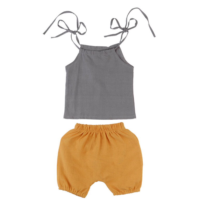 2018 Hot sales 2pcs Toddler Newborn Baby Boy Girl T-shirt Sleeveless Tops+Pants Outfits Set Baby Clothing