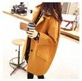 Шерсть пальто женщин 2015 новых осень европейский женщины шерстяное пальто дополнительные large4XL сплошной цвет моды пальто женщин XXL зимнее пальто долго